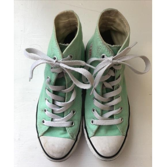 Pale Green Converse Tennis Shoes Kids